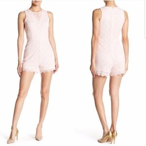 bebe marys rose lace pink sleeveless romper NWT
